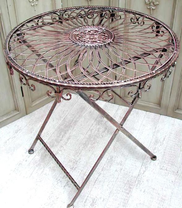 Details zu Kaffeetisch Bistrotisch Landhaus vintage Kupfer Eisen Tisch Klapptisch 0945234 b