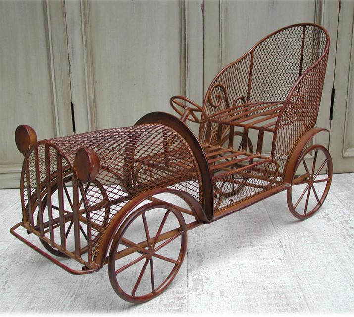 Blumenständer 70cm Oldtimer Auto Puppenwagen Landhaus Shabby Drahtkorb 0951347-b