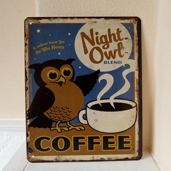 Blechschild Coffee Shop Open Schild Kaffee Werbeschild Gastronomie Vintage